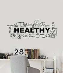 Vinyl Wall Decal Healthy Lifestyle Balance Sport Food Words Stickers G1439 Ebay