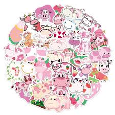 Super Promo Ac199 50pcs Cute Pink Vsco Strawberry Cow Cartoon Stickers Animal Decals For Kids Diy Suitcase Laptop Bicycle Helmet Car Toy Sticker Cicig Co