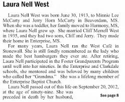 LAURA NELL MCCARTY WEST OBITUARY PAGE 1 - Newspapers.com
