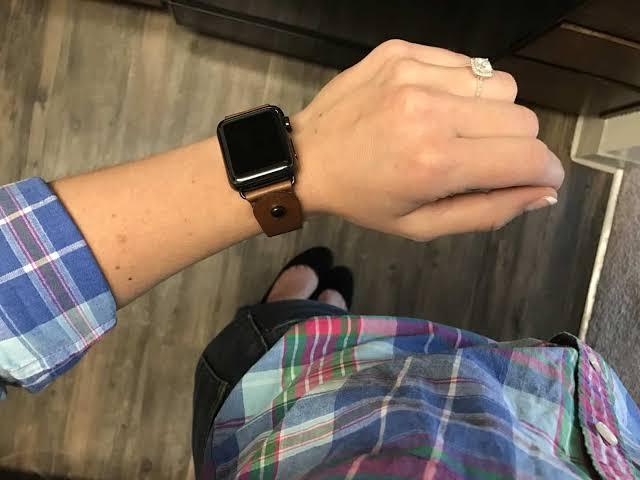 Image result for This Leather, Button-stud Apple Watch Band Will Fit Any Wrist Size""