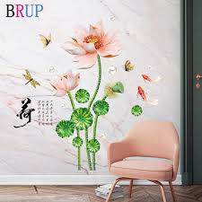 78 114cm Lotus Flower Wall Stickers Dragonfly Butterfly Home Decor Beautiful Wall Decal Vinyl Diy Mural Room Decoration Wall Stickers Aliexpress