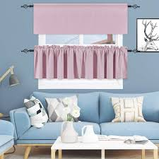 Keqiaosuocai Girls Room Baby Pink Valance 18 Inch Blackout Valances Short Curtains For Kids Room 1 Panel 52 Inch Width 18 Inch Length