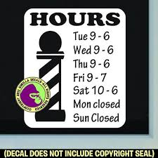 Barber Shop Hours Custom Text Vinyl Decal Sticker Gorilla Decals