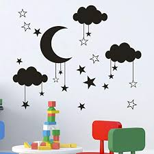 Amazon Com 3d Wall Stickers Tptpt New Pendant Star Moon Cloud Pvc Wall Decal Sticker For Living Room Black Home Kitchen