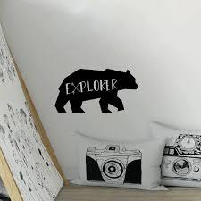 Explorer Bear Wall Decal Art Wall Stickers For Nursery Little Boys Room Decor Wall Stickers Aliexpress