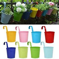 Riogoo Flower Pots Garden Pots Hanging Buckets Hanging Planter Metal Flower Pots Plant Pots Home Decor Detachable Hook 8 Pcs Amazon Co Uk Garden Outdoors