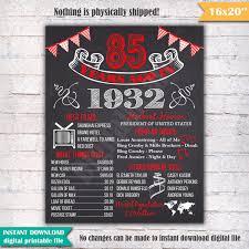 85 Cumpleanos Pizarra Cartel Muestra Hace 85 Anos En 1932
