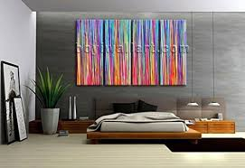 Extra Large Multicolored Striped Abstract Contemporary Wall Art Printed Canvas Oversized Abstract Wall Art Living Room Handmade
