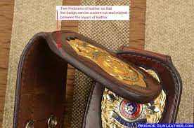 leather custom police badge holder