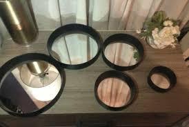 round framed mirror set five piece