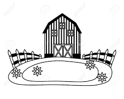 Barn Fence Meadow Flowers Farm Vector Illustration Vector Illustration Royalty Free Cliparts Vectors And Stock Illustration Image 124861070
