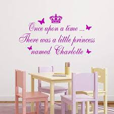 Amazon Com Large Once Upon A Time Personalised Name Princess Bedroom Quote Vinyl Wall Art Decal Sticker Large 14 Colours Availableplease Message Us With Name Colour Home Kitchen