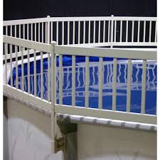 The Vinyl Works Above Ground Pool Fence Kit 8 Sections In Taupe Ne1331 The Home Depot Above Ground Pool Fence Pool Fence Above Ground Pool Decks