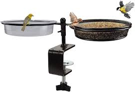 Amazon Com Deck Bird Feeders And Bath Metal Mesh Tray Deck Bird Bath Spa For Dual Use Deck Flower Stand Pot Clamp To Fence Railing Detachable And Adjustable Great For Attracting Birds