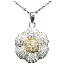 flower pendant necklace 18k yellow gold