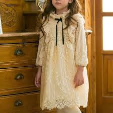 Adela Long Sleeves Lace Girls Dress Vintage Style Knee Length Cream and  Rustic Red | Girls lace dress, Vintage dresses, Girls dresses