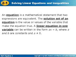 solving linear equations and 2 1