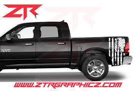 Dodge Ram Usa Distressed American Flag Bed Decals Ztr Graphicz