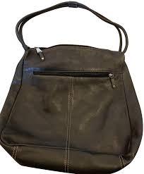 zip pockets black leather shoulder bag