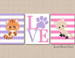 Cats Nursery Wall Art Kittens Nursery Decor Pink Purple Girl Wall Art Sweet Blooms Decor