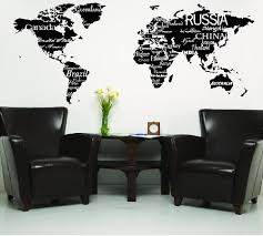 World Map With Countries Black Wall Saying Vinyl Lettering Home Decor Decal Stickers Quotes Ellisashtonbzul