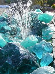 water feature with recycled glass
