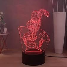 Laysinly Marvel Legend 3d Led Night Light Spiderman Usb Remote Control Table Lamp Child Bedroom Night Lamp Decor Light Children Birthday Christmas Gift Spiderman Amazon Com