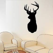 Stag Head Wall Art Vinyl Room Decal Decorative Stags Deer Head Sticker Ebay