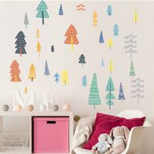 Nordic Style Forest Tree Color Wall Decals Woodland Tree Vinyl Art Wall Stickers For Kids Room