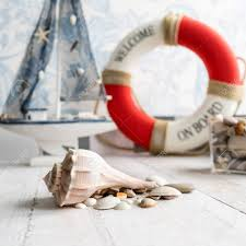Sea Theme Decorations Of The Kids Room Such As Cute Wooden Boat Stock Photo Picture And Royalty Free Image Image 93234860