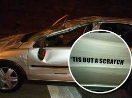 Car With Tis But A Scratch Sticker On It Flips Onto Its Roof In Leeds Yorkshire Post