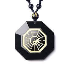 black obsidian bagua necklace pendant