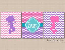 Mermaids Wall Art Pink Purple Teal Mermaid Kids Bedroom Decor Chevrom Sweet Blooms Decor