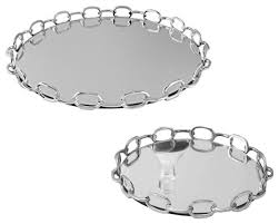 silver nickel chain link mirrored tray