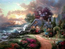 paintings dawn seas thomas kinkade