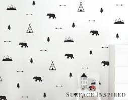 Wall Decals Woodland Bears Arrow Teepees Trees And Mountains Nurser Surface Inspired Home Decor Wall Decals Wall Art Wooden Letters