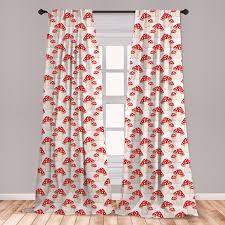 East Urban Home Almerton Mushroom 2 Panel Curtain Set Cartoon Style Amanita Mushrooms Dotted Forest Plants Summer Nature Kids Design Lightweight Window Treatment Living Room Bedroom Decor 56 X 63 Cream Red