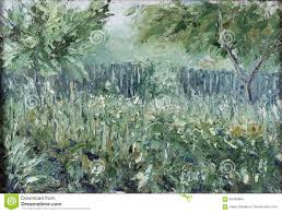 Summer Garden A Riot Of Greenery Fence Trees Stock Illustration Illustration Of Impressionism Gate 59436894