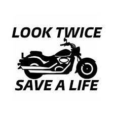Look Twice Save A Life Vinyl Decal Bumper Sticker Sport Bike Awareness Bulk Rainbowlands Lk