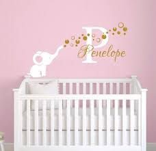 Girl Name Wall Decal Removable Vinyl Elephant With Bubbles Sticker Personalized Girl Name Wall Sticker Kids Bedroom Decor Ay0120 Wall Stickers Aliexpress
