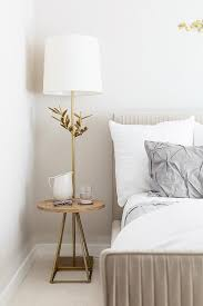 light taupe velvet bed with gray