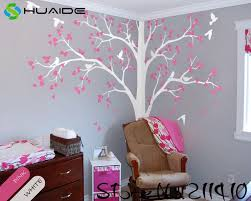 White Tree Wall Decals Large Tree With Birds Wall Stickers For Kids Room Baby Nursery Wall Art Vinilos Paredes Mural Jw191a White Tree White Tree Wall Decaltree Wall Decal Aliexpress