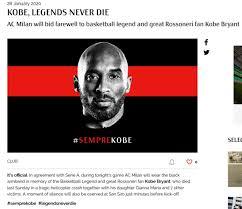 AC Milan Preparing Tribute to Kobe Bryant Ahead of Cup Game ...