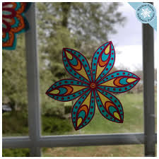 Mandala Suncatcher Window Clings Set Of 8 Stained Glass Window Cling Window Flakes