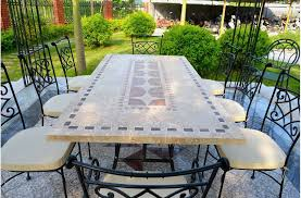outdoor stone patio dining table