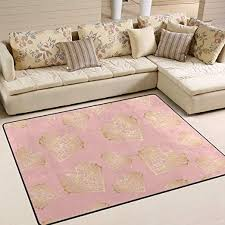 Amazon Com Agona Pink Gold Hearts Area Rug 5x7 Soft Large Area Rugs Indoor Modern Floor Carpet No Shedding Non Slip Rectangle Mat For Living Room Entryway Bedroom Kids Room Home Kitchen