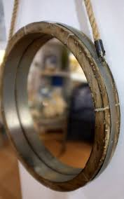 reclaimed barrel lid rope mirror in