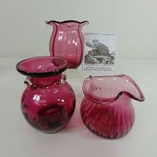 cranberry glass vases 3 pc lot hand