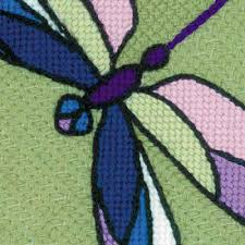 cross stitch kit cushion panel stained