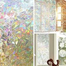 Uv Protection 3d Window Film Decorative Rainbow Effect Under Sunshine Static Cling No Glue Frosted Glass Decal Wish